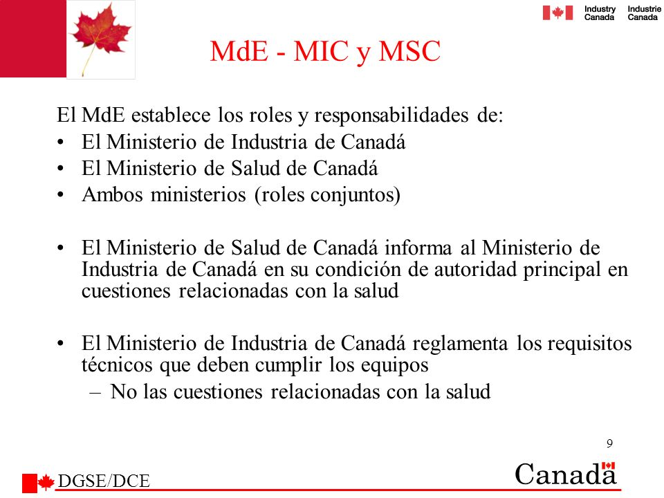 MdE - MIC y MSC El MdE establece los roles y responsabilidades de: