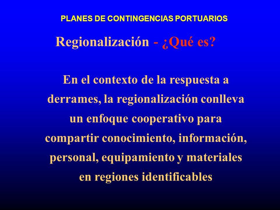 PLANES DE CONTINGENCIAS PORTUARIOS Regionalización - ¿Qué es