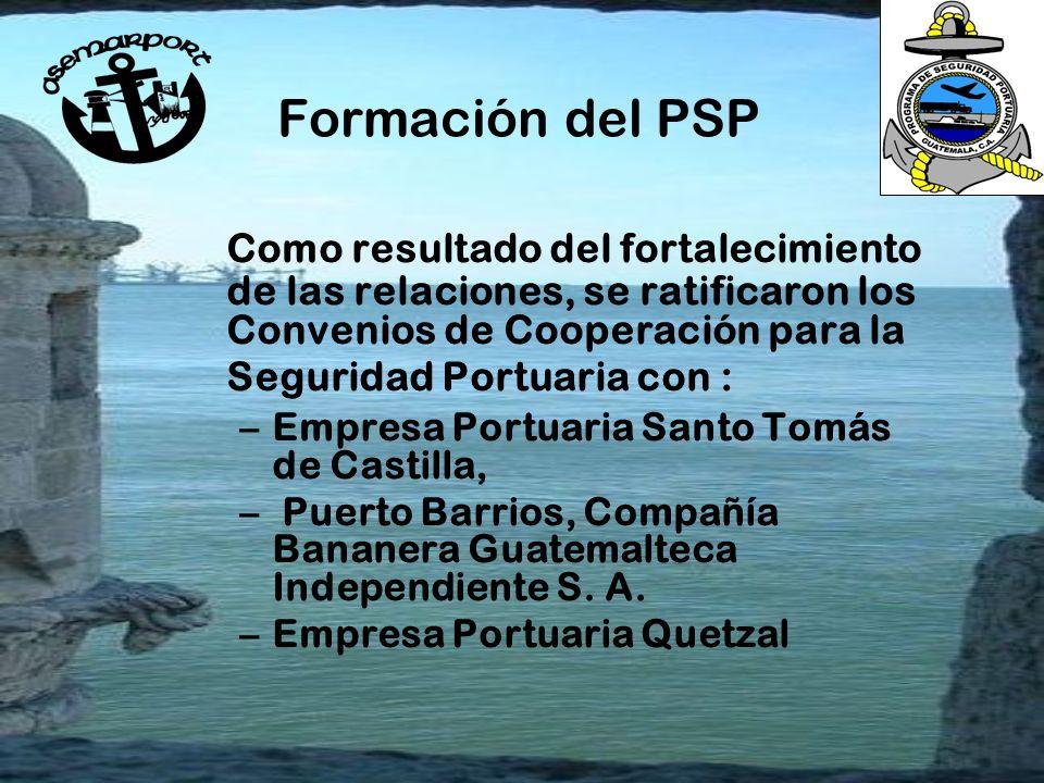 Formación del PSP Como resultado del fortalecimiento de las relaciones, se ratificaron los Convenios de Cooperación para la Seguridad Portuaria con :
