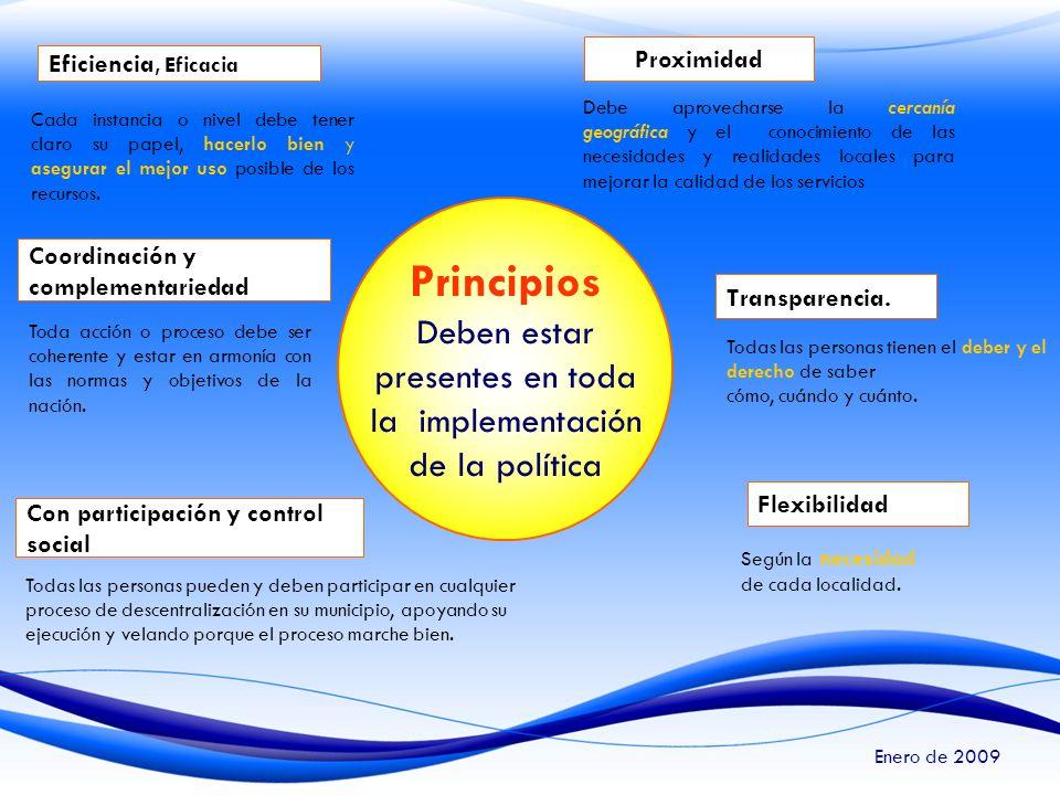 Principios Deben estar presentes en toda la implementación