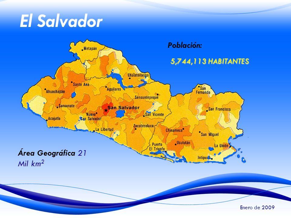 El Salvador Población: 5,744,113 HABITANTES Área Geográfica 21 Mil km2