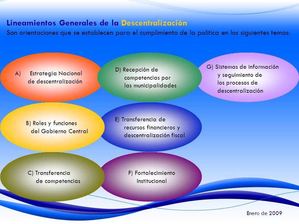 Lineamientos Generales de la Descentralización Son orientaciones que se establecen para el cumplimiento de la política en los siguientes temas: