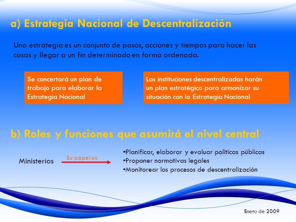 a) Estrategia Nacional de Descentralización