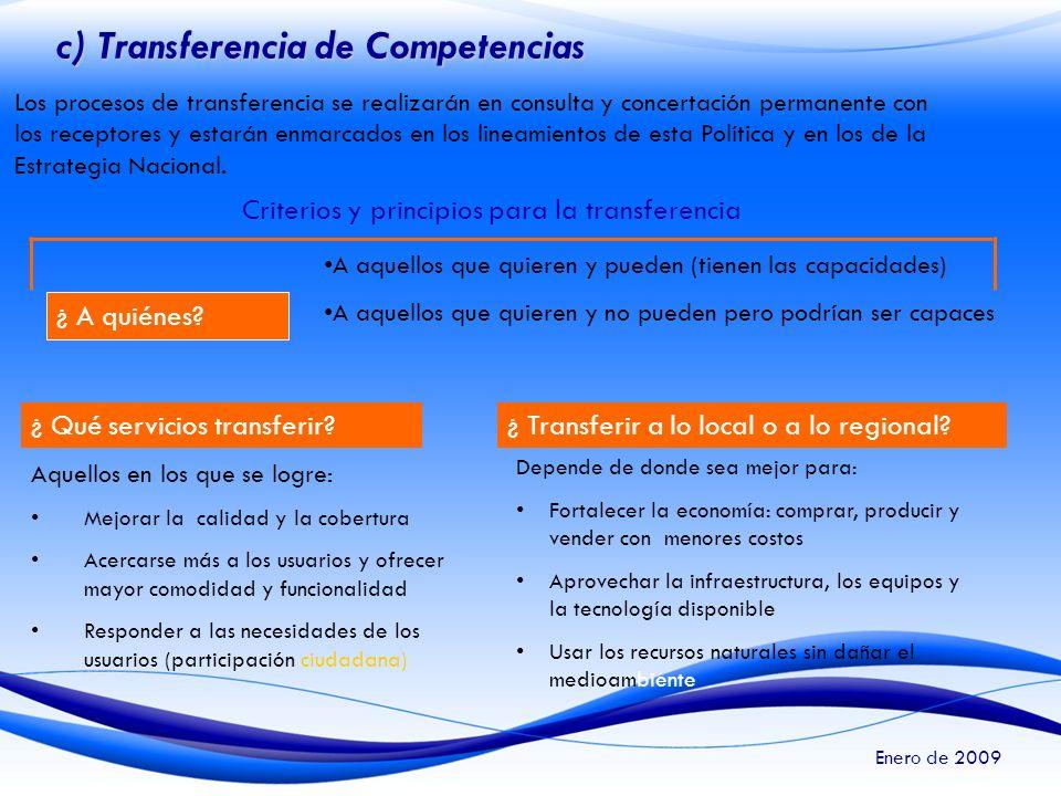 c) Transferencia de Competencias