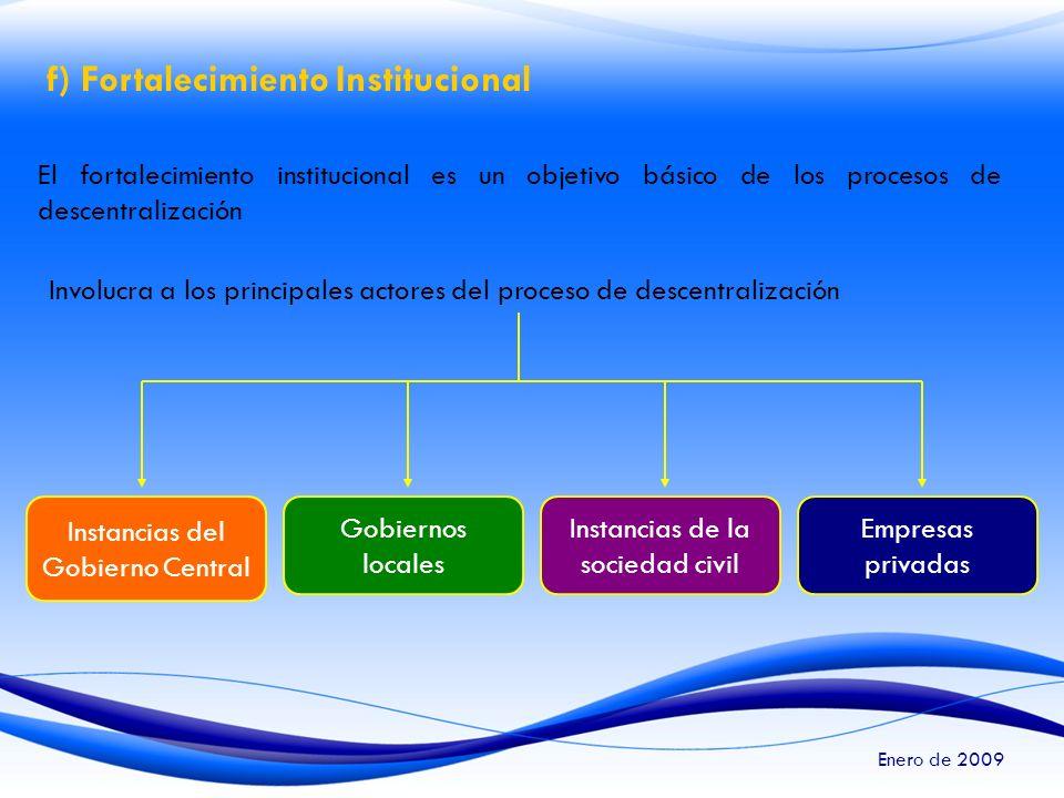 f) Fortalecimiento Institucional