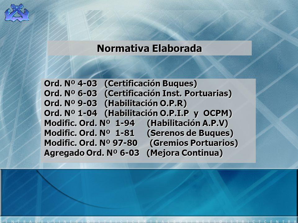 Normativa Elaborada Ord. Nº 4-03 (Certificación Buques)