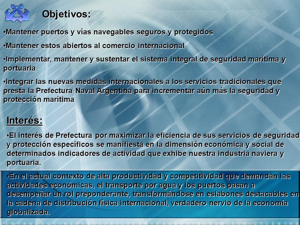 Objetivos:Mantener puertos y vías navegables seguros y protegidos. Mantener estos abiertos al comercio internacional.