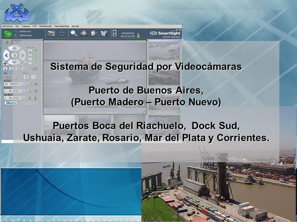 Sistema de Seguridad por Videocámaras Puerto de Buenos Aires, (Puerto Madero – Puerto Nuevo) Puertos Boca del Riachuelo, Dock Sud, Ushuaia, Zarate, Rosario, Mar del Plata y Corrientes.