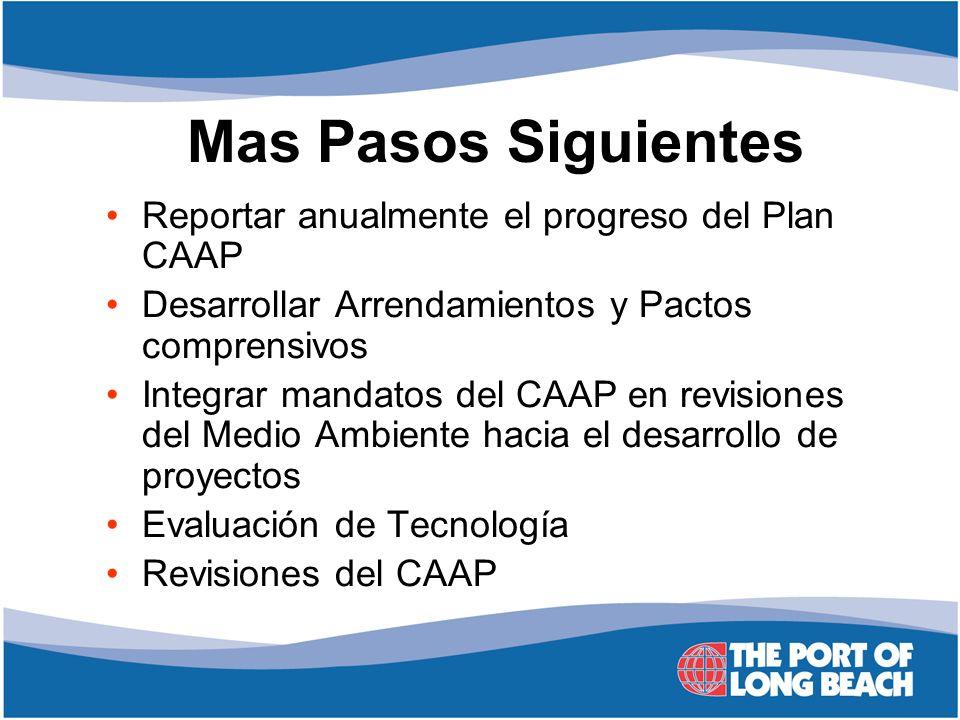 Mas Pasos Siguientes Reportar anualmente el progreso del Plan CAAP