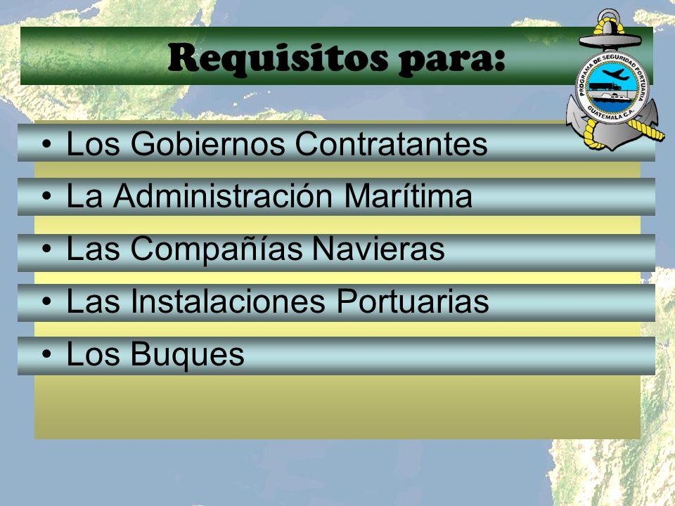 Requisitos para: Los Gobiernos Contratantes La Administración Marítima