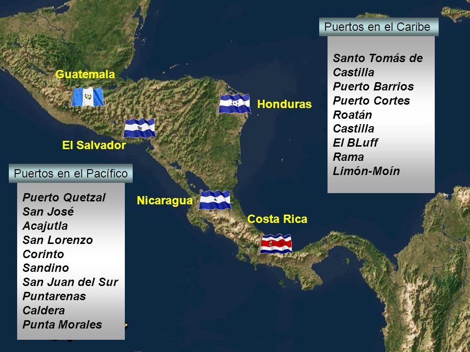 Puertos en el Caribe Santo Tomás de. Castilla. Puerto Barrios. Puerto Cortes. Roatán. El BLuff.