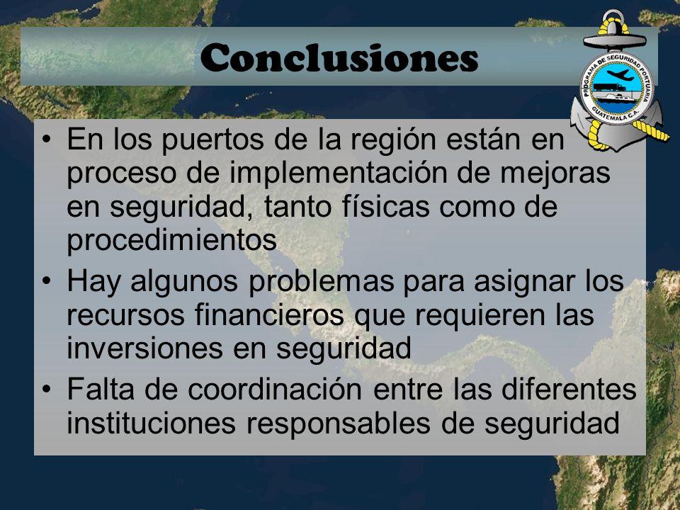 Conclusiones En los puertos de la región están en proceso de implementación de mejoras en seguridad, tanto físicas como de procedimientos.