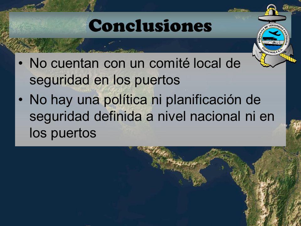 Conclusiones No cuentan con un comité local de seguridad en los puertos.