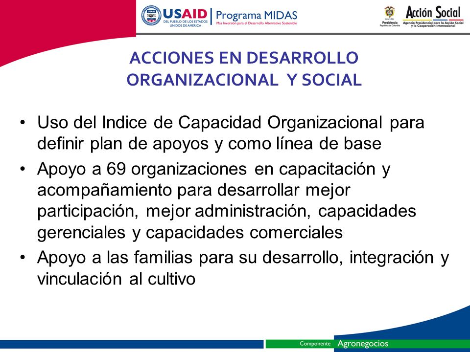 ACCIONES EN DESARROLLO ORGANIZACIONAL Y SOCIAL
