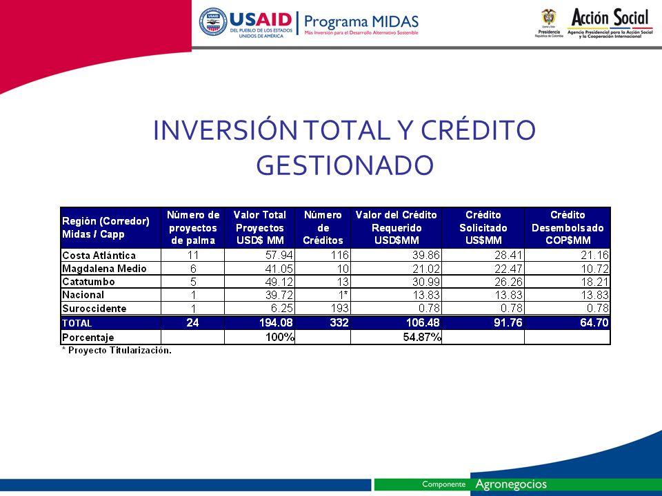 INVERSIÓN TOTAL Y CRÉDITO GESTIONADO