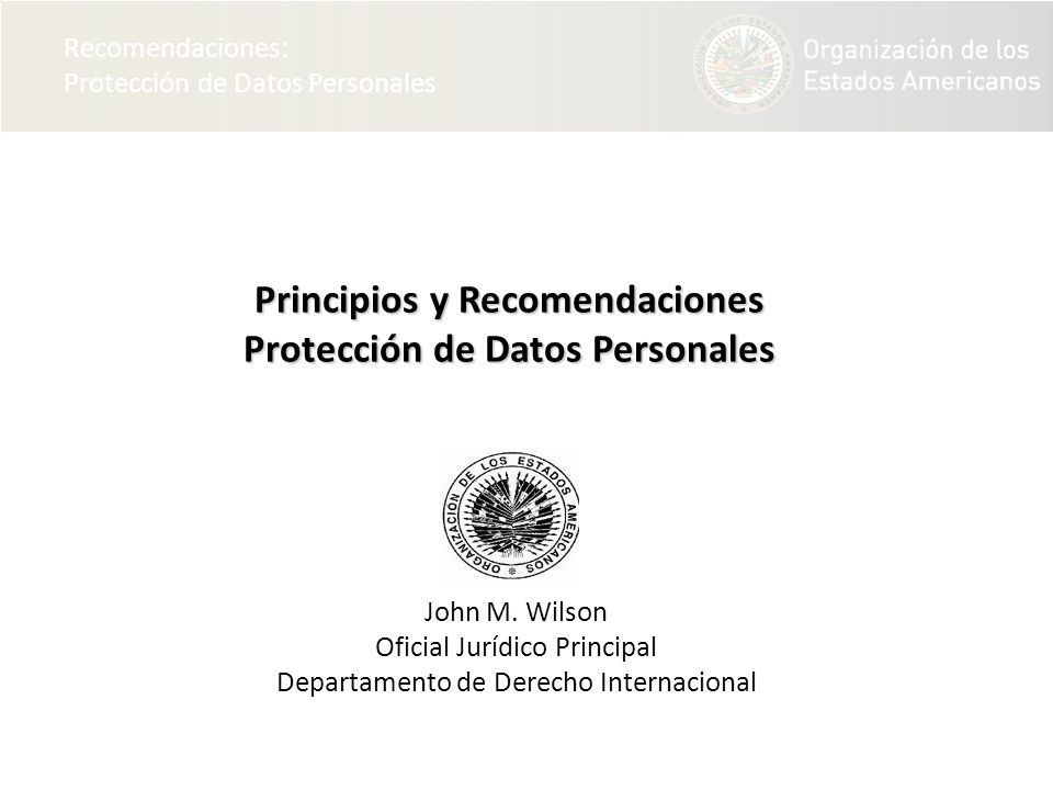 Principios y Recomendaciones Protección de Datos Personales