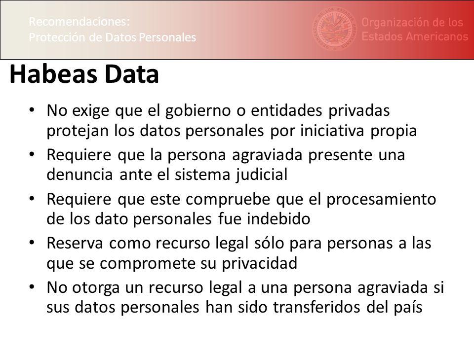 Recomendaciones: Protección de Datos Personales. Habeas Data.