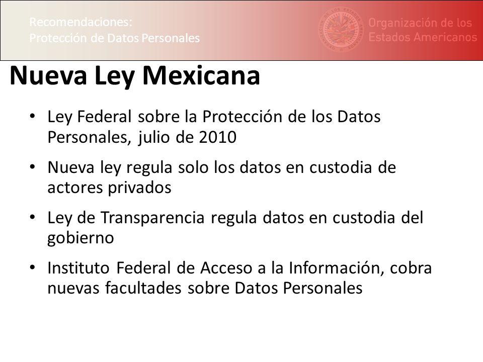 Recomendaciones: Protección de Datos Personales. Nueva Ley Mexicana. Ley Federal sobre la Protección de los Datos Personales, julio de 2010.