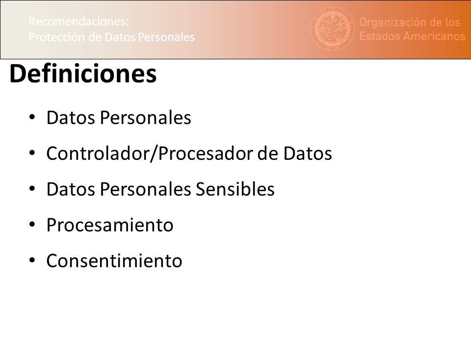 Definiciones Datos Personales Controlador/Procesador de Datos