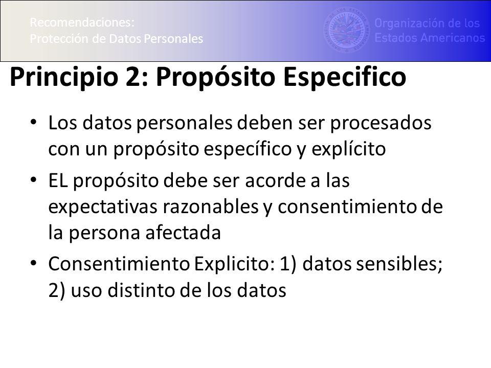 Principio 2: Propósito Especifico