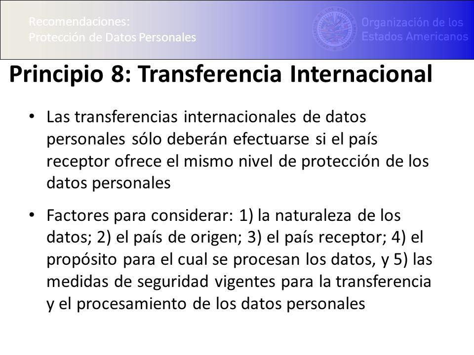 Principio 8: Transferencia Internacional