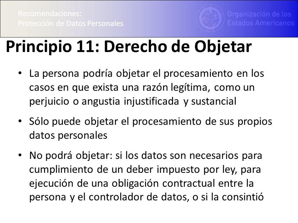 Principio 11: Derecho de Objetar