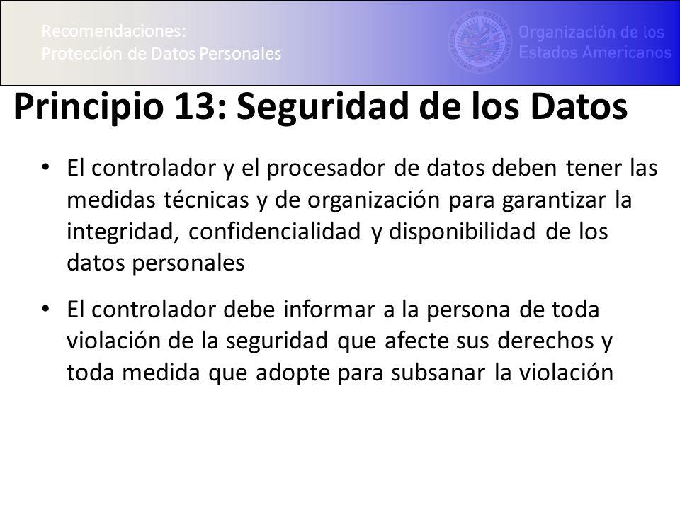 Principio 13: Seguridad de los Datos