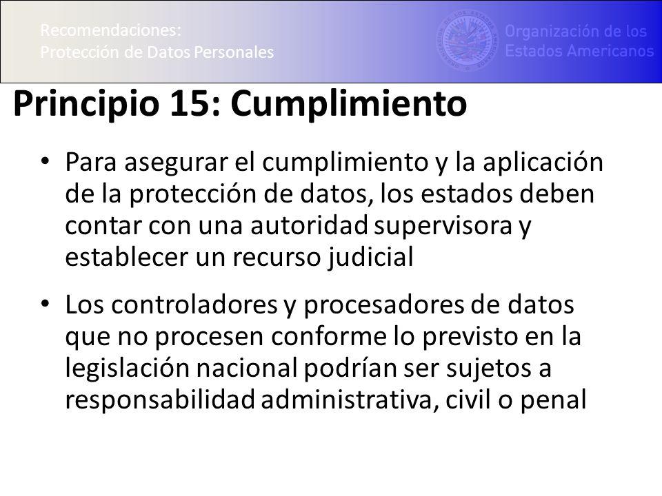 Principio 15: Cumplimiento