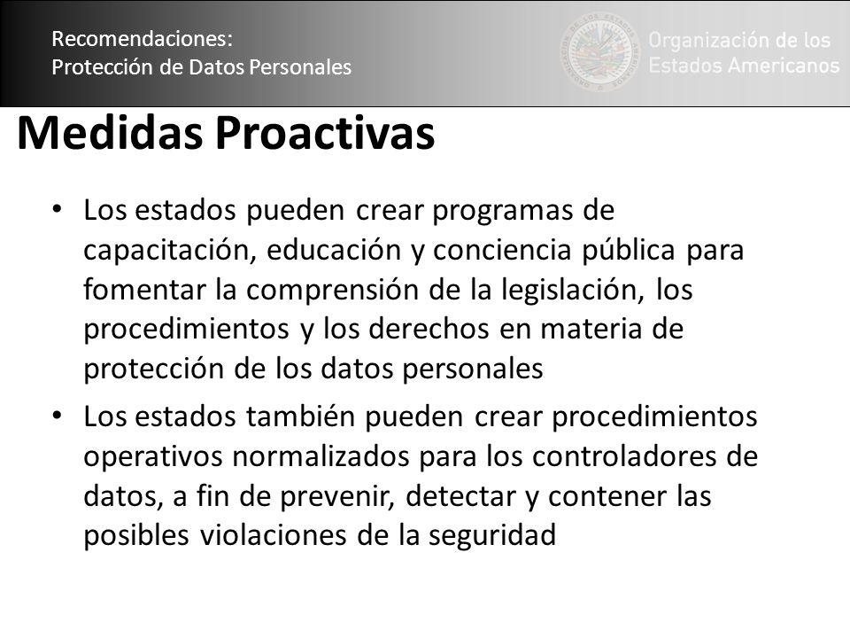 Recomendaciones: Protección de Datos Personales. Medidas Proactivas.