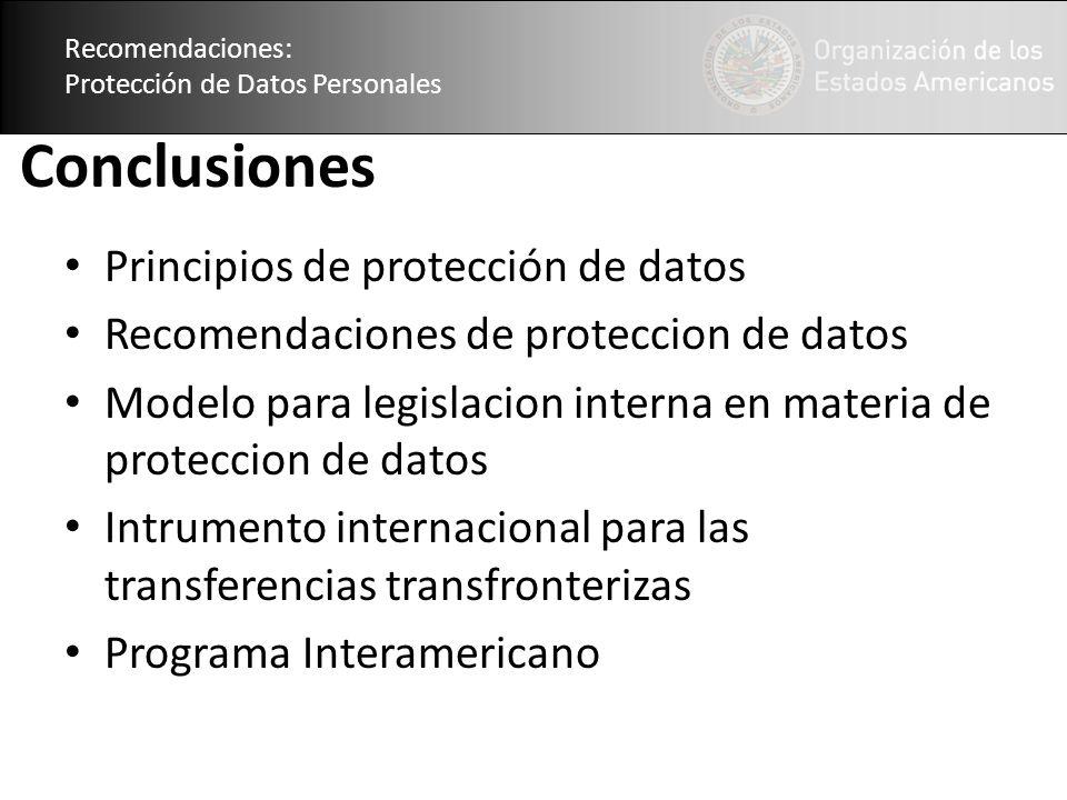 Conclusiones Principios de protección de datos
