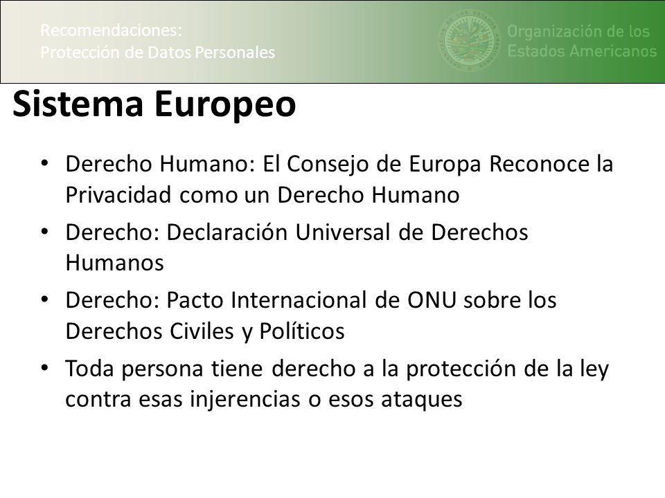Recomendaciones: Protección de Datos Personales. Sistema Europeo.