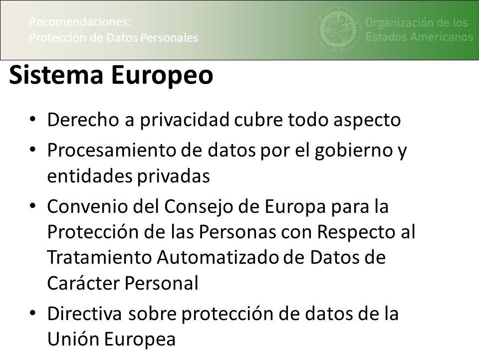 Sistema Europeo Derecho a privacidad cubre todo aspecto