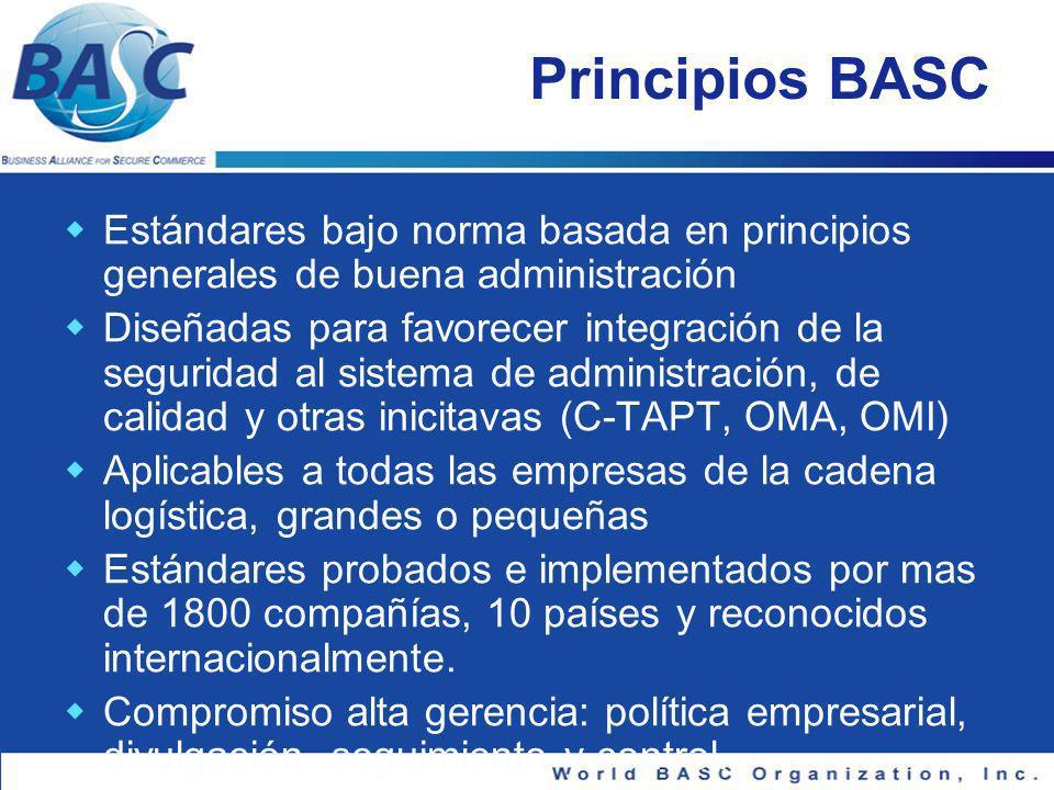 Principios BASC Estándares bajo norma basada en principios generales de buena administración.
