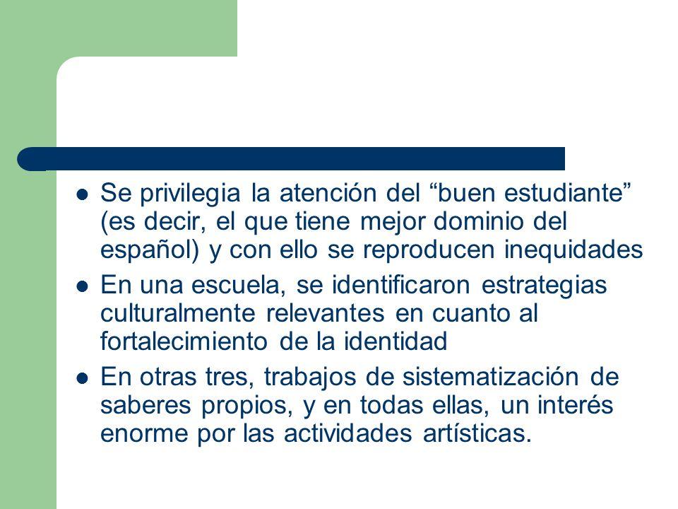 Se privilegia la atención del buen estudiante (es decir, el que tiene mejor dominio del español) y con ello se reproducen inequidades