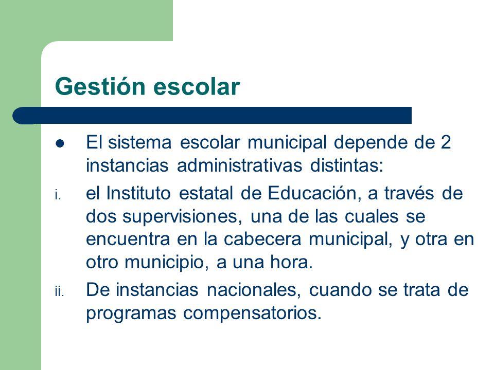 Gestión escolarEl sistema escolar municipal depende de 2 instancias administrativas distintas: