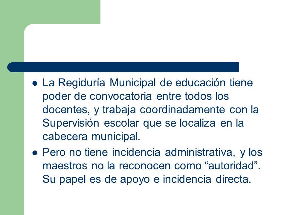 La Regiduría Municipal de educación tiene poder de convocatoria entre todos los docentes, y trabaja coordinadamente con la Supervisión escolar que se localiza en la cabecera municipal.