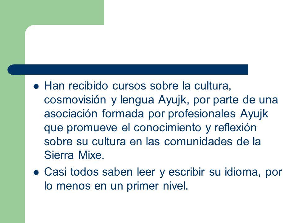 Han recibido cursos sobre la cultura, cosmovisión y lengua Ayujk, por parte de una asociación formada por profesionales Ayujk que promueve el conocimiento y reflexión sobre su cultura en las comunidades de la Sierra Mixe.