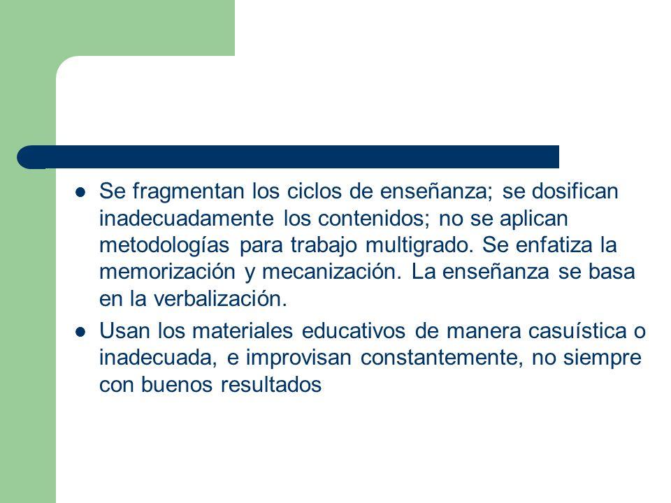 Se fragmentan los ciclos de enseñanza; se dosifican inadecuadamente los contenidos; no se aplican metodologías para trabajo multigrado. Se enfatiza la memorización y mecanización. La enseñanza se basa en la verbalización.