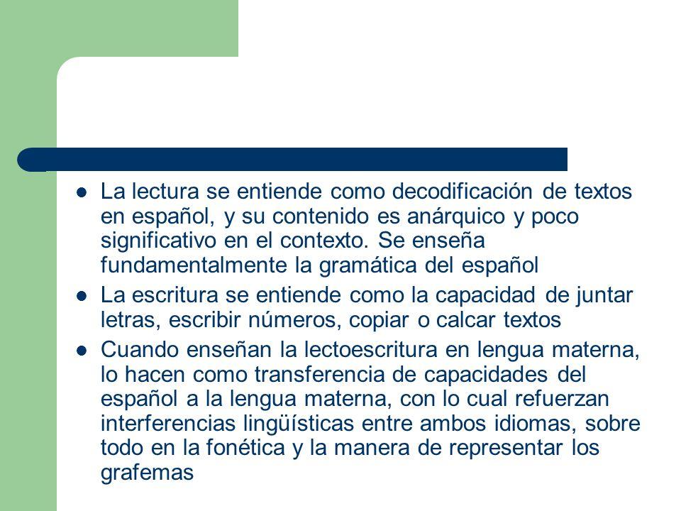 La lectura se entiende como decodificación de textos en español, y su contenido es anárquico y poco significativo en el contexto. Se enseña fundamentalmente la gramática del español