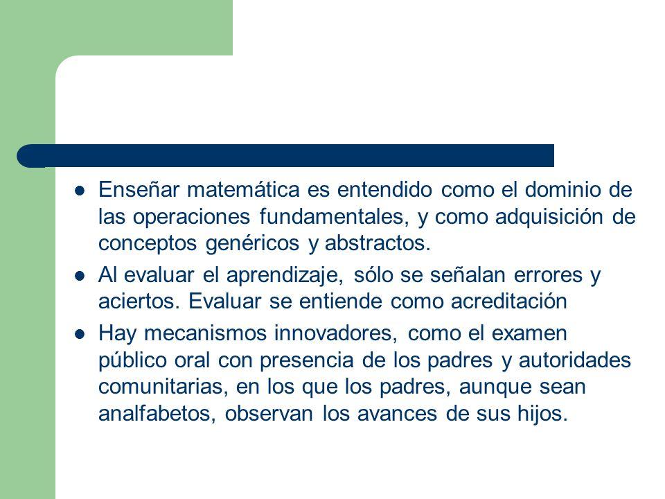 Enseñar matemática es entendido como el dominio de las operaciones fundamentales, y como adquisición de conceptos genéricos y abstractos.