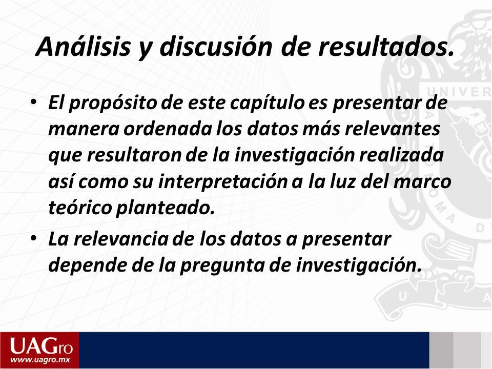 Análisis y discusión de resultados.