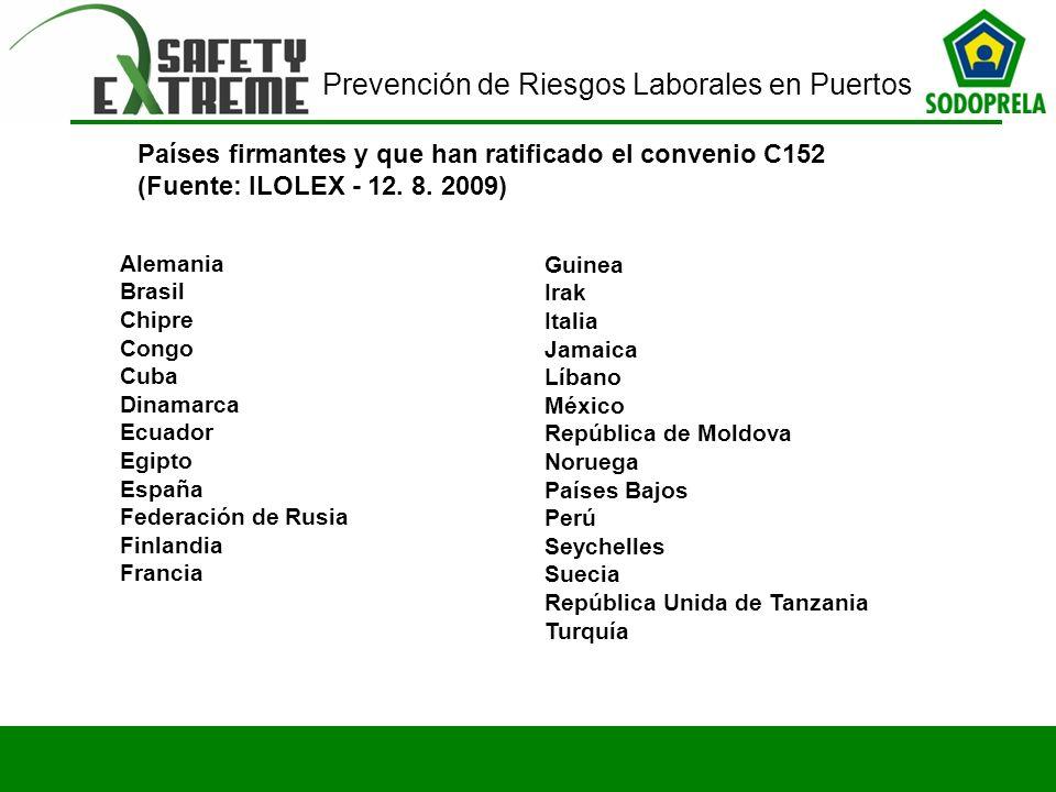 Países firmantes y que han ratificado el convenio C152