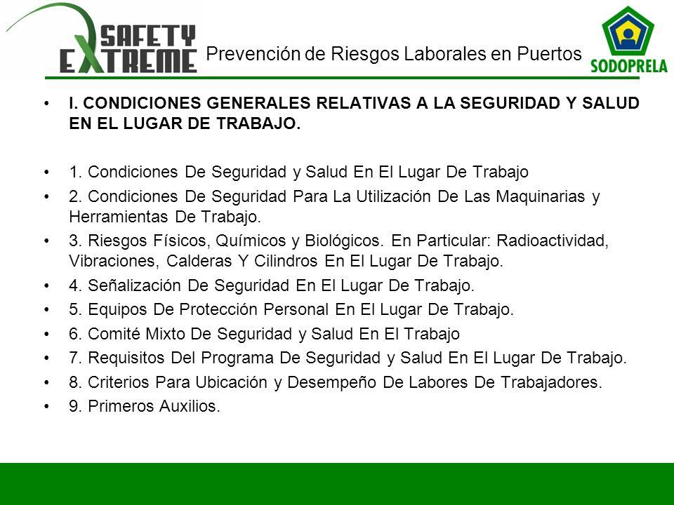 I. CONDICIONES GENERALES RELATIVAS A LA SEGURIDAD Y SALUD EN EL LUGAR DE TRABAJO.