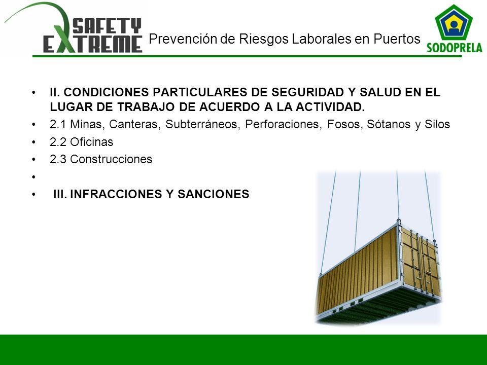 II. CONDICIONES PARTICULARES DE SEGURIDAD Y SALUD EN EL LUGAR DE TRABAJO DE ACUERDO A LA ACTIVIDAD.