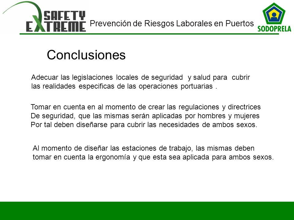 Conclusiones Adecuar las legislaciones locales de seguridad y salud para cubrir las realidades especificas de las operaciones portuarias .
