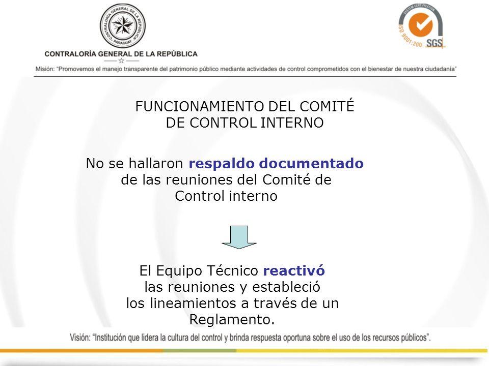 FUNCIONAMIENTO DEL COMITÉ DE CONTROL INTERNO