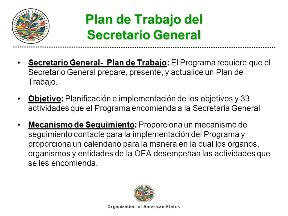 Plan de Trabajo del Secretario General