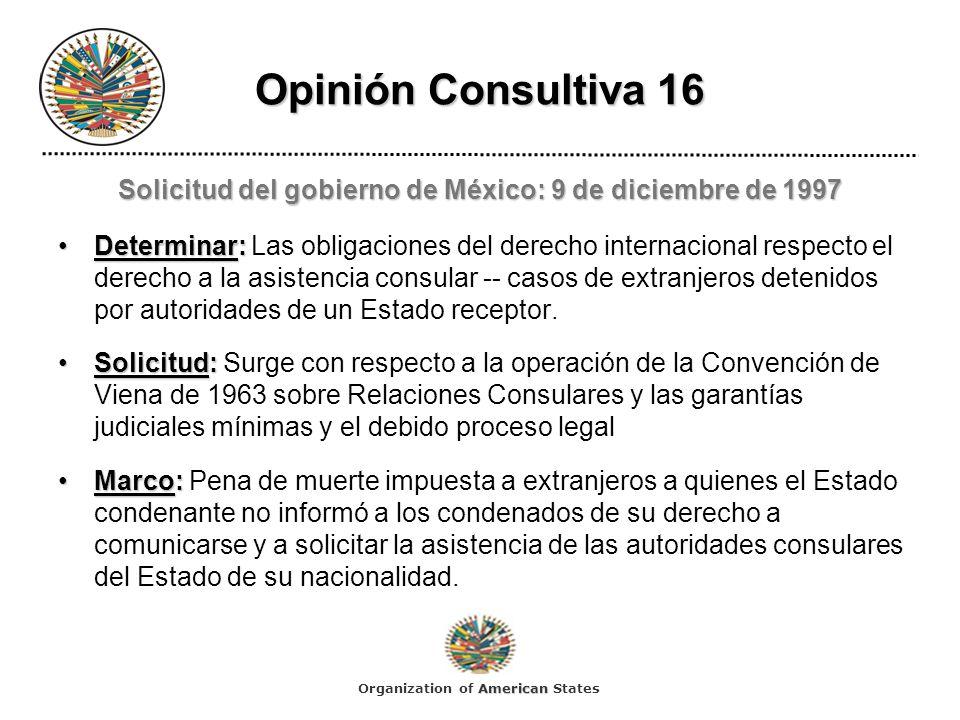 Solicitud del gobierno de México: 9 de diciembre de 1997