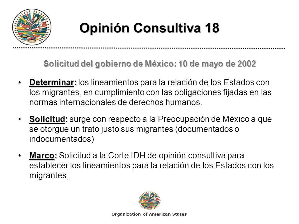 Solicitud del gobierno de México: 10 de mayo de 2002