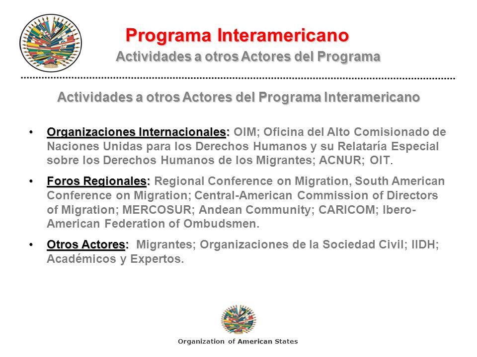 Programa Interamericano Actividades a otros Actores del Programa